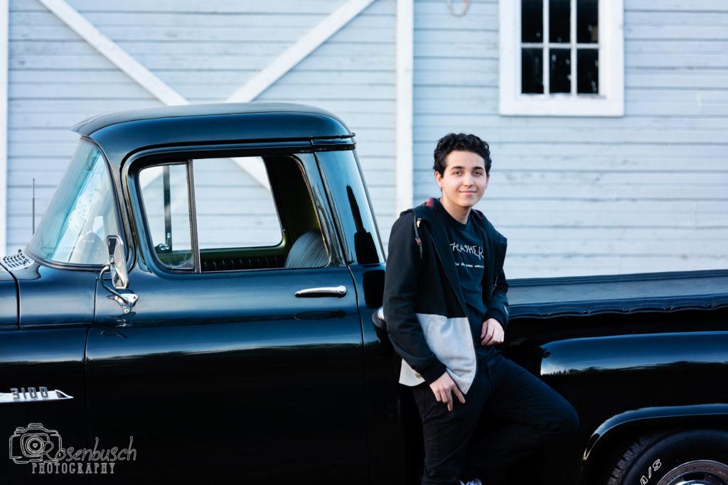 senior photos with vintage truck